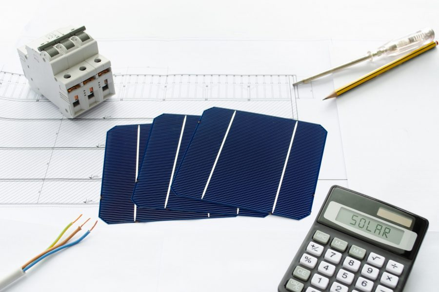 Concept of energy saving achieved by installing solar power plant